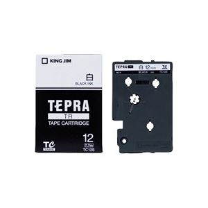 (業務用30セット) キングジム テプラTRテープ TC12S 白に黒文字 12mm ×30セット