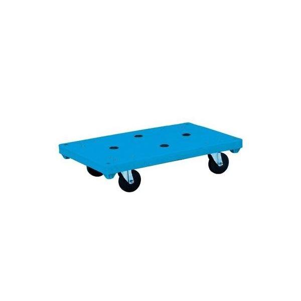 リスキャリー71・45(小) 平台車 4インチ エラストマー車 自在×4 ブルー【代引不可】