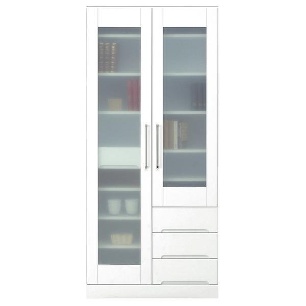 マルチボード(食器棚 リビング収納) 【上置き付き】 幅80cm 飛散防止ガラス扉/可動棚付き 日本製 ホワイト(白) 【完成品】【代引不可】