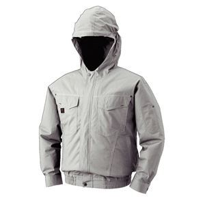 空調服 フード付綿薄手長袖ブルゾン リチウムバッテリーセット BM-500FC06S3 シルバー L