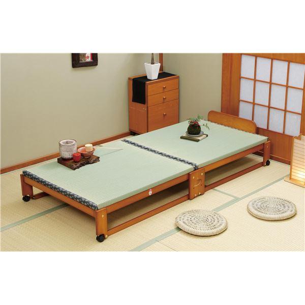 らくらく折りたたみ式 キャスター付き 国産 畳ベッド シングル 幅94.5cm (フレームのみ) 日本製ベッドフレーム 【中居木工】【代引不可】