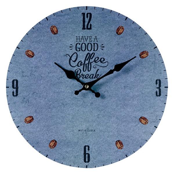 色々なショップをイメージ 環境にも配慮したウォールクロック 最安値挑戦 無料サンプルOK モチーフクロック 壁掛け時計 Lサイズ COFFEE ブレイク ブルー コーヒー BREAK-blue- 直径33cm