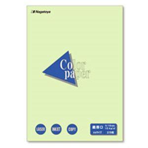 (業務用100セット) Nagatoya カラーペーパー/コピー用紙 【A4/最厚口 25枚】 両面印刷対応 若草 ×100セット