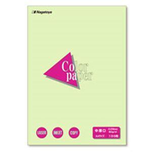 (業務用100セット) Nagatoya カラーペーパー/コピー用紙 【A4/中厚口 100枚】 両面印刷対応 若草 ×100セット