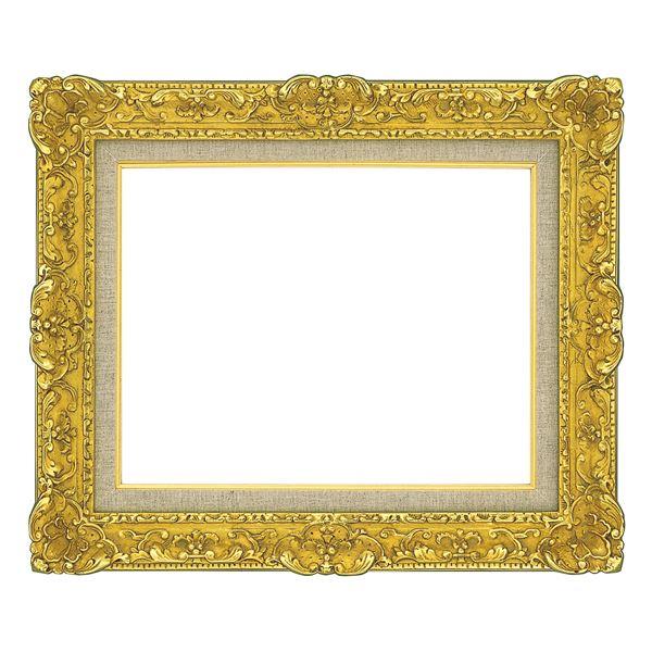 油絵額縁/油彩額縁 【F0 ゴールド】 縦32.5cm×横37.8cm×高さ9.5cm 表面カバー:ガラス 総柄彫り 黄袋 吊金具付き