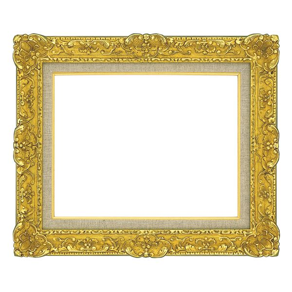 油絵額縁/油彩額縁 【SM ゴールド】 縦34.2cm×横42.3cm×高さ9.5cm 表面カバー:ガラス 総柄彫り 黄袋 吊金具付き