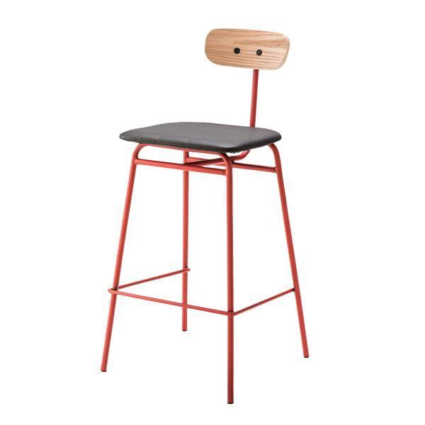スタイリッシュな椅子 インテリア家具 ディスプレイ用品 什器 送料無料カード決済可能 デザインハイチェア カウンターチェア PLC-511RD レッド メーカー再生品 合皮 張地:合成皮革 スチールフレーム