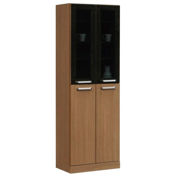 フリーボード(キャビネット/キッチン収納) 【幅60cm】 木製 ガラス扉/可動棚付き 日本製 ブラウン 【完成品】【代引不可】