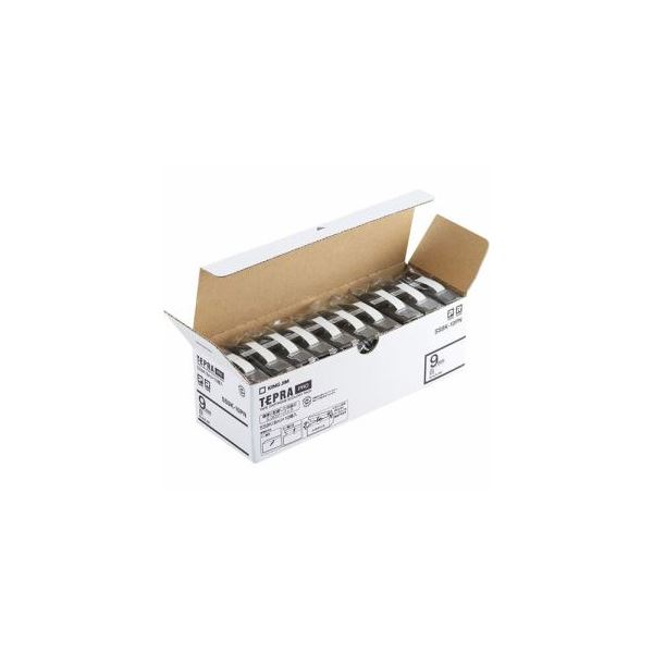 キングジム SS9K-10PN テプラPROテープ エコパック 白 黒文字 9mm幅 8m 10個入