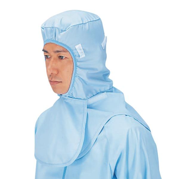 マスク掛け メガネ穴付きで隙間を作らせない 作業帽子 工場用白衣 ユニフォーム 男女兼用フードキャップ F型 ケープ付 サックス 後マジック調整 SK7504 抗菌機能 最新 workfriend 信憑