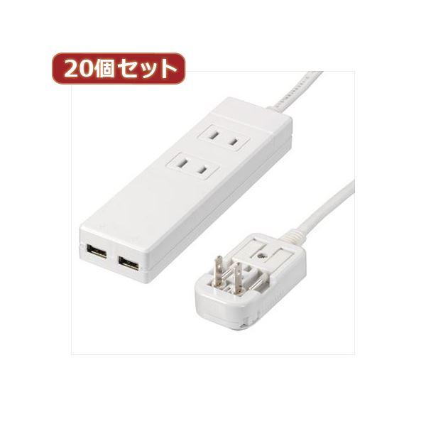 YAZAWA 20個セット 海外用マルチ変換タップ2個口USB2ポート HPM6AC2USB2WHX20