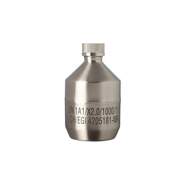 【柴田科学】ステンレススチールボトル キャップ付(UN規格) 1.5L