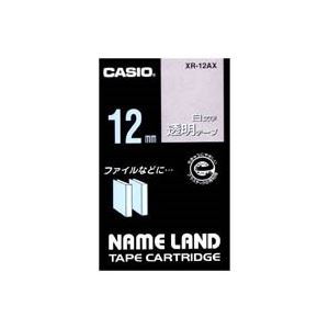 (業務用50セット) カシオ CASIO 白文字テープ XR-12AX 透明に白文字 12mm ×50セット