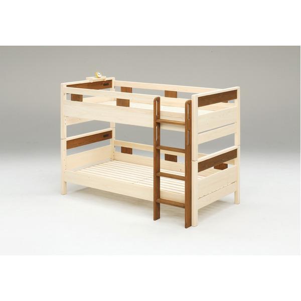 防ダニ 防カビ 抗菌 国産ヒノキ材二段ベッド (フレームのみ) シングル ブラウン 日本製ベッドフレーム 木製 はしご左右差替え可【代引不可】【送料無料】