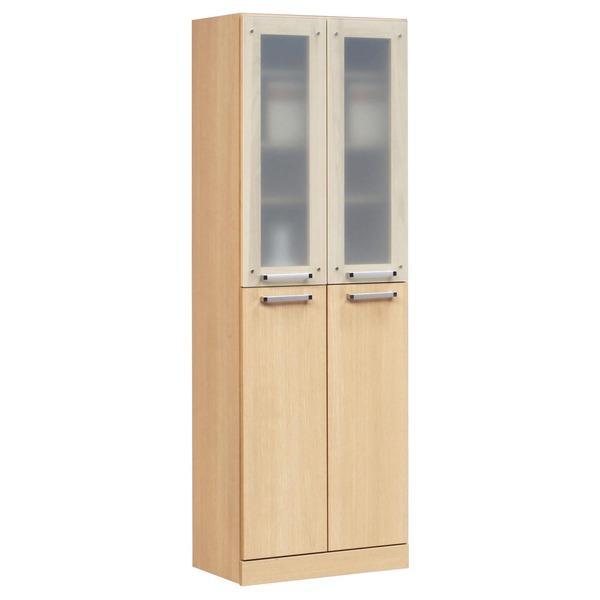 フリーボード(キャビネット/キッチン収納) 【幅60cm】 木製 ガラス扉/可動棚付き 日本製 ナチュラル 【完成品】【代引不可】