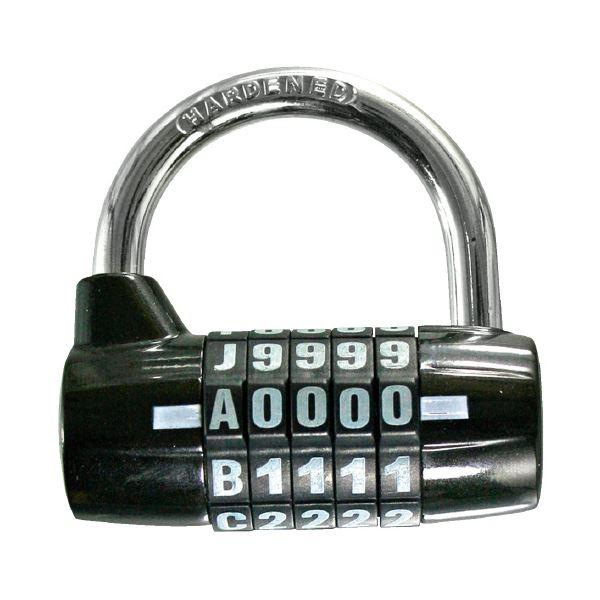 (まとめ)WAKI ワイド番号錠5段 IB-111 ブラック(×10セット)