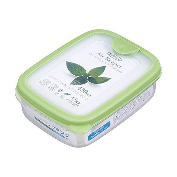 (まとめ) スナックケース/保存容器 【ソフトグリーン】 430ml 抗菌効果 食洗機可 『エアキーパー』 【×60個セット】