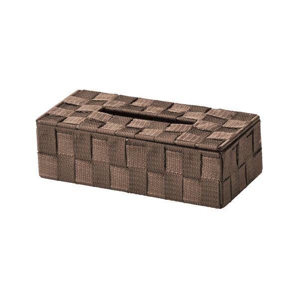 (まとめ) PP編み ティッシュケース/収納ケース 【ダークブラウン】 26×13×高さ7.5cm 【×48個セット】