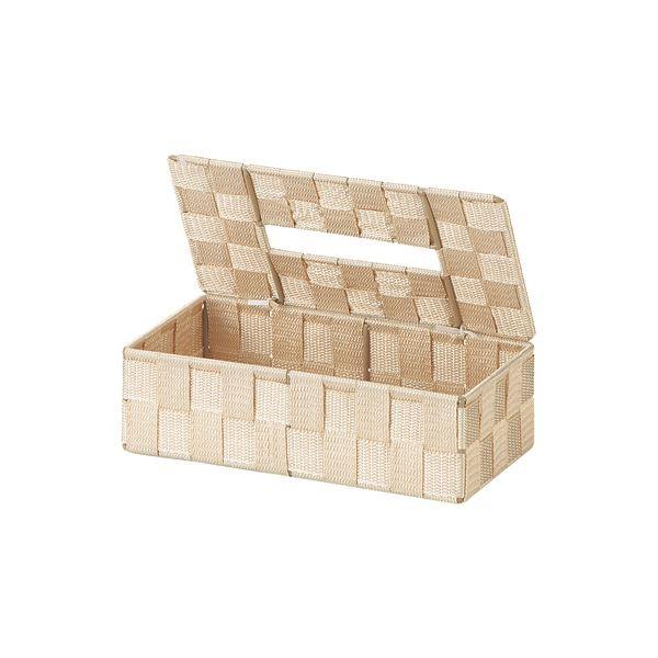 (まとめ) PP編み ティッシュケース/収納ケース 【ベージュ】 26×13×高さ7.5cm 【×48個セット】
