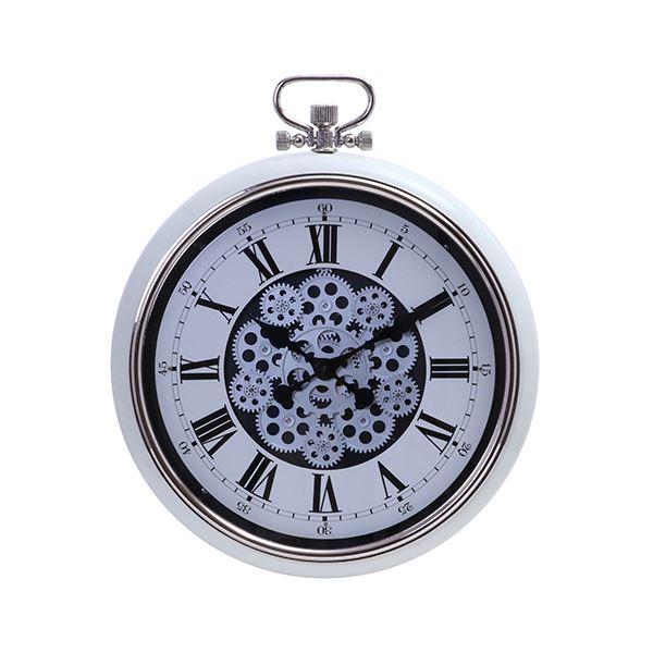 壁掛け時計/ウォールクロック 【Lサイズ クリーム】 幅520×奥行85×高さ642mm 『ギア』 〔リビング ダイニング〕【代引不可】