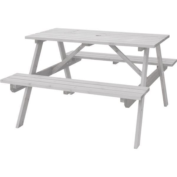 屋外用 テーブル&ベンチ 【ホワイト】 幅120cm×奥行135cm×高さ75.5cm×座面高45cm 木製 パラソル可 〔レジャー〕 【組立品】