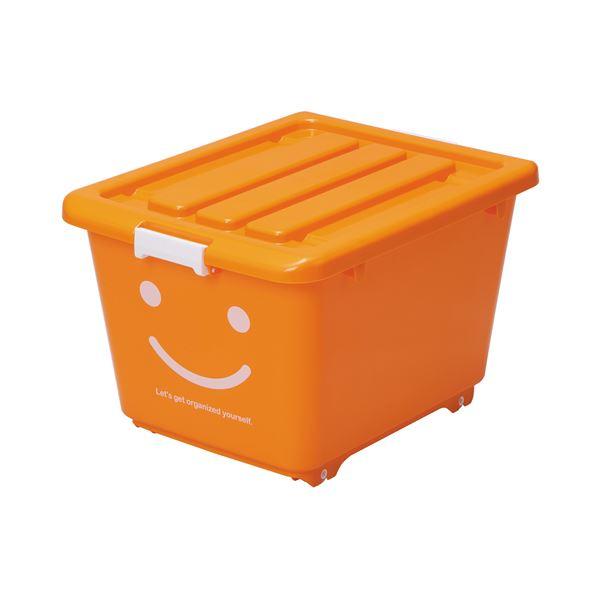 (まとめ) ハッピーケース/収納ケース 【オレンジ ショート】 幅39cm ロック機能・キャスター付き お子様用 【×10個セット】