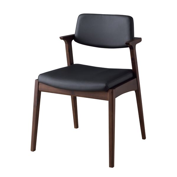 ダイニングチェア/食卓椅子 2脚セット 【ブラック】 幅52cm×奥行54cm×高さ77cm×座面高45cm 木製素材 〔リビング〕