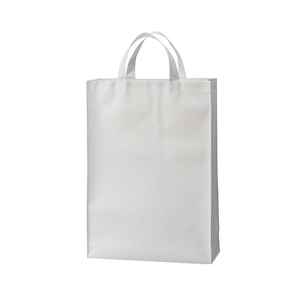 (まとめ) TANOSEE 不織布バッグ 中ヨコ320×タテ450×マチ幅120mm ホワイト 1パック(10枚) 【×5セット】