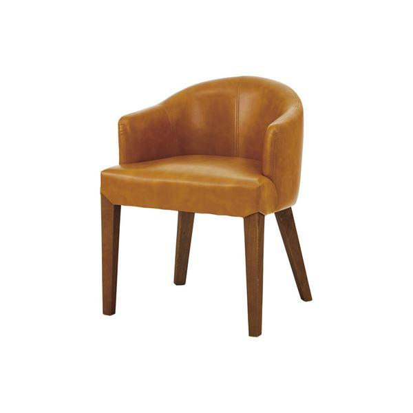 ダイニングチェア/食卓椅子 【キャメル】 幅55cm 木製 ウィービングベルト ウレタン塗装 ソフトレザー 〔キッチン 台所 店舗〕