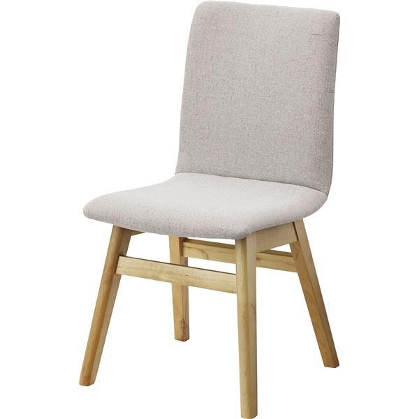 【送料無料】北欧風 ダイニングチェア/食卓椅子 【1脚 ライトグレー】 幅43cm 木製 ウレタン塗装 ポリエステル 〔キッチン 台所 店舗〕