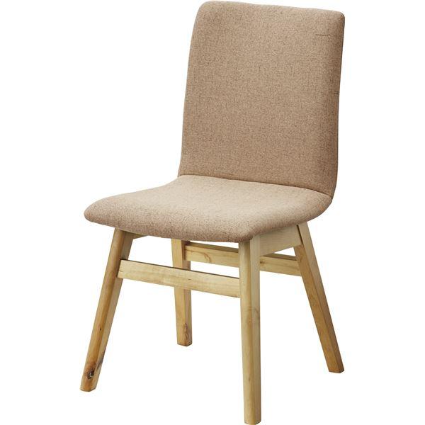 【送料無料】北欧風 ダイニングチェア/食卓椅子 【1脚 ベージュ】 幅43cm 木製 ウレタン塗装 ポリエステル 〔キッチン 台所 店舗〕