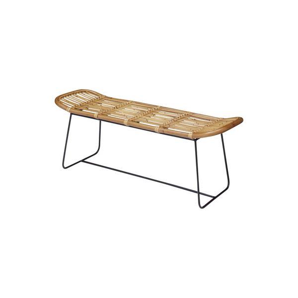 ラタン製 ベンチ/玄関椅子 【W121×D39×H45.5cm】 アイアン 〔リビング ダイニング 入口 エントランス〕