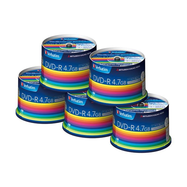 バーベイタム データ用DVD-R4.7GB 1-16倍速 スピンドルケース DHR47JP50V3C 1箱(250枚:50枚×5個)