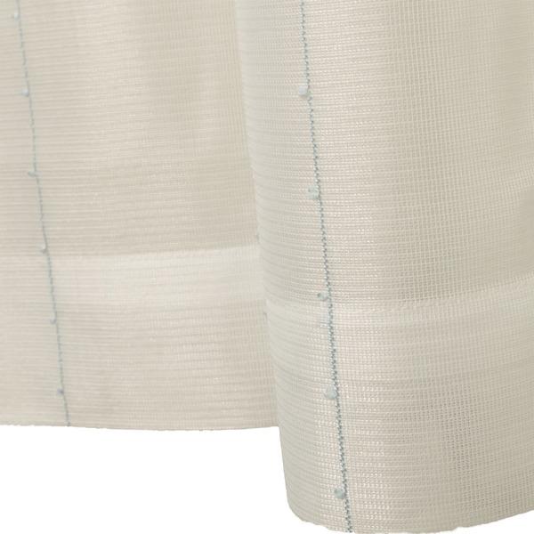 刺繍 レースカーテン ライン柄 幅200×丈223cm 1枚入 ブルー ピコン 九装【ポイント10倍】