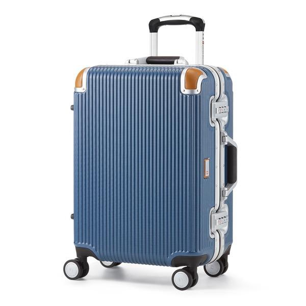 軽量 スーツケース/旅行カバン 【34L ブルー】 1~3泊用 ポリカーボネード TSAロック 4輪ダブルキャスター スイスミリタリー【代引不可】
