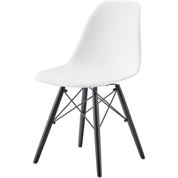 モダン パーソナルチェア/椅子 2脚セット 【ホワイト】 幅44cm×奥行53cm×高さ79cm×座面高44cm 木製脚付き 【組立品】