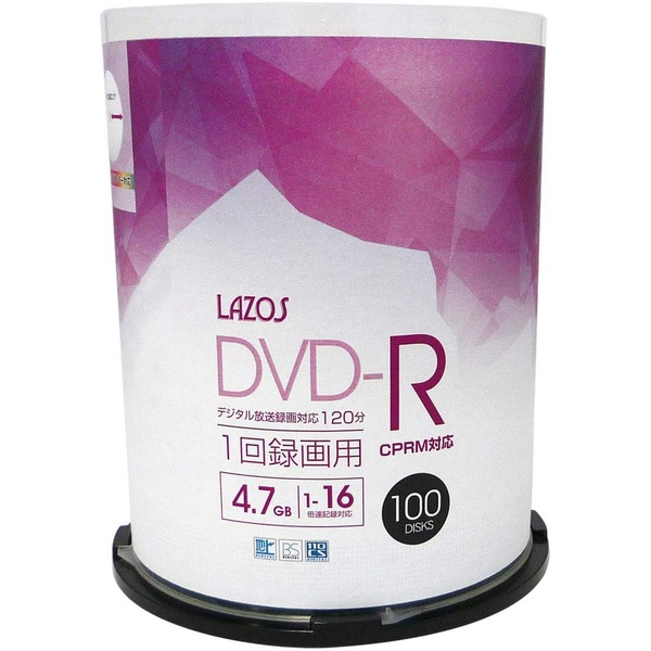 LAZOSDVD-R 4.7GB for VIDEO CPRM対応 100枚組スピンドルケース入【×5個セット】L-CP100P-5P