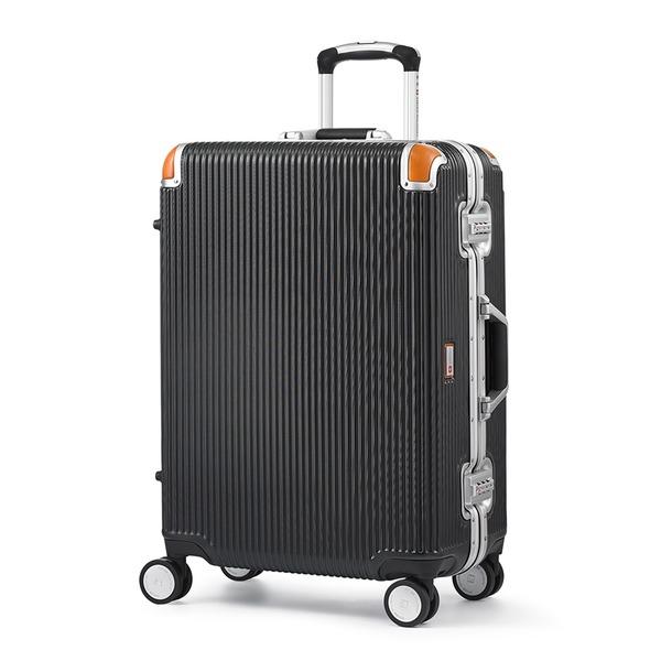 軽量 スーツケース/旅行カバン 【64L ブラック】 4~6泊用 ポリカーボネード TSAロック 4輪ダブルキャスター スイスミリタリー【代引不可】
