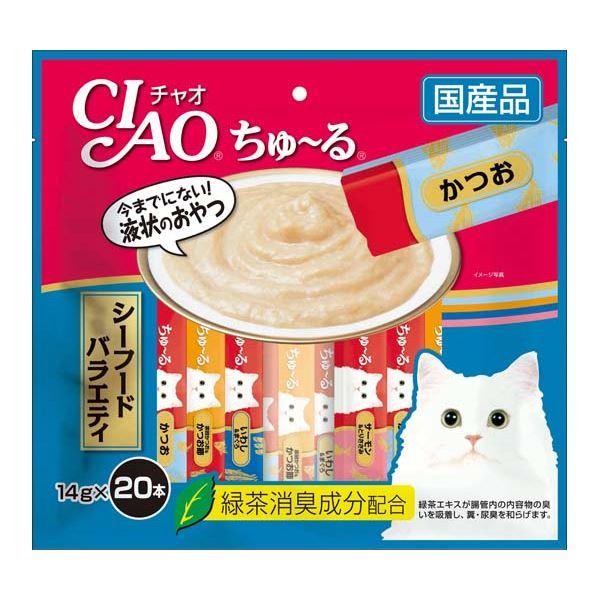(まとめ)CIAO ちゅ~る シーフードバラエティ 14g×20本 (ペット用品・猫フード)【×16セット】