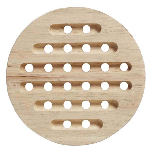 (まとめ)鍋敷き 木製 木目鍋敷 (丸) 【96個セット】
