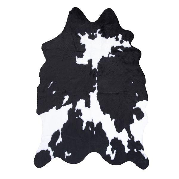 アニマル柄 ラグマット/絨毯 【カウ柄 ブラック】 160×220cm フェイクファー ポリエステル 〔リビング ダイニング 店舗 お店〕