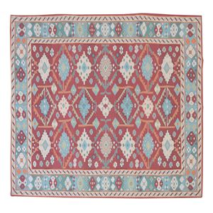 エスニック風 ラグマット/絨毯 【180×180cm TTR-168B】 正方形 インド製 〔リビング ダイニング 応接間 客間〕