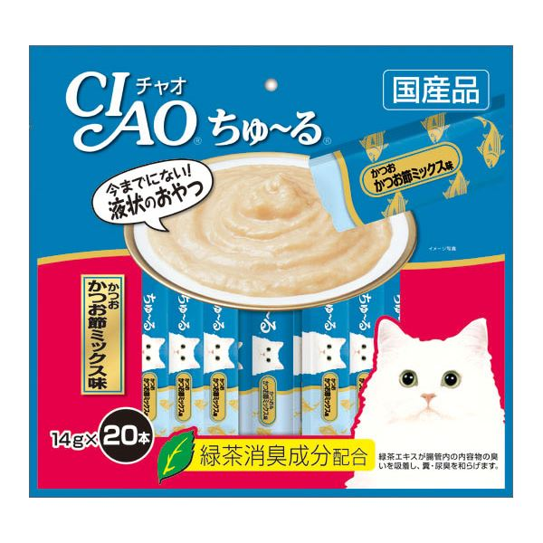 (まとめ)CIAO ちゅ~る かつお かつお節ミックス味 14g×20本 (ペット用品・猫フード)【×16セット】