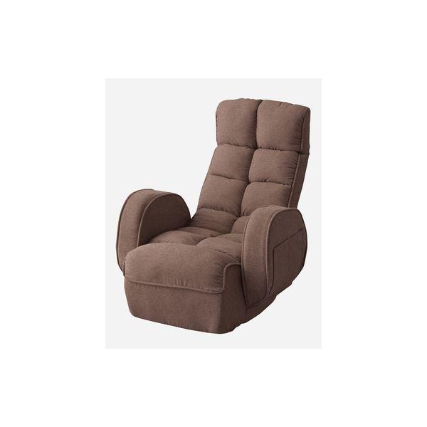シンプル 座椅子/フロアチェア 【ブラウン】 幅67cm スチール ポリエステル 『肘付きリクライナー』 〔リビング ダイニング〕