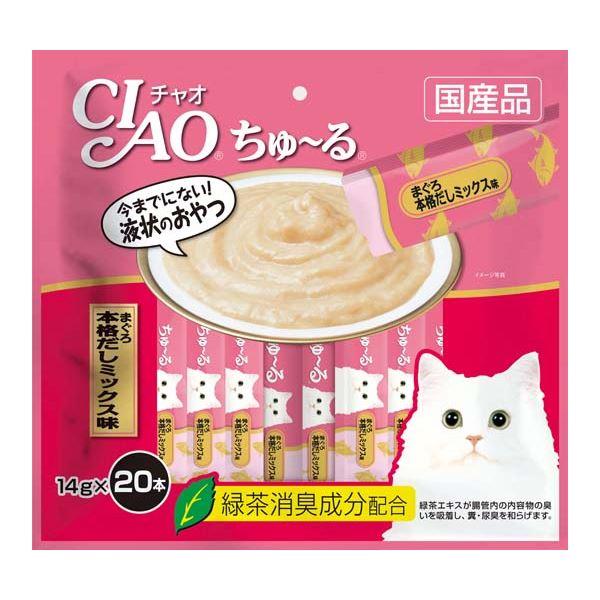 (まとめ)CIAO ちゅ~る まぐろ 本格だしミックス味 14g×20本 (ペット用品・猫フード)【×16セット】