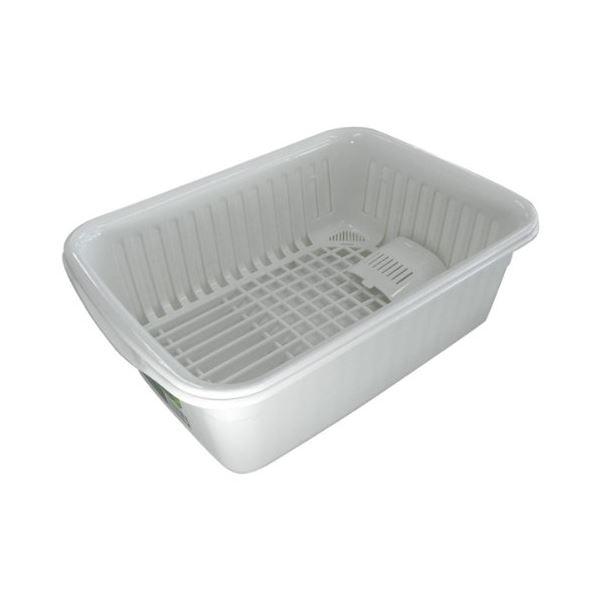 爆買いセール 抗菌加工付き食器の水切りバスケット 35%OFF 水切りかご ポゼ ホワイト 中 水切りセット