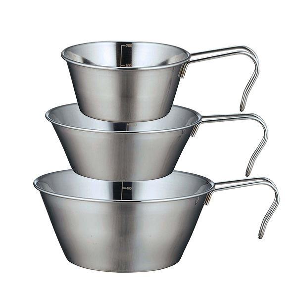 (まとめ) シェラカップ/アウトドア用品 【3個セット】 ステンレス製 スタッキング可 『SOLA』 【×36個セット】