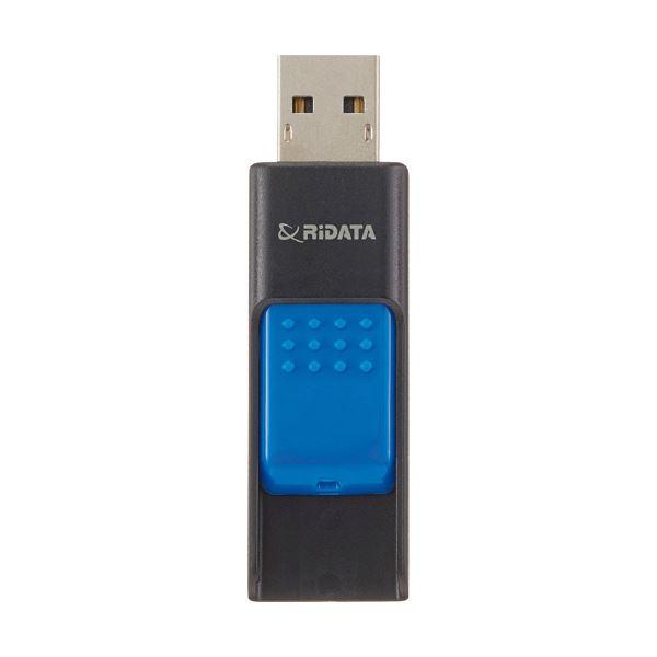(まとめ)RiDATA ラベル付USBメモリー64GB ブラック/ブルー RDA-ID50U064GBK/BL 1個【×2セット】