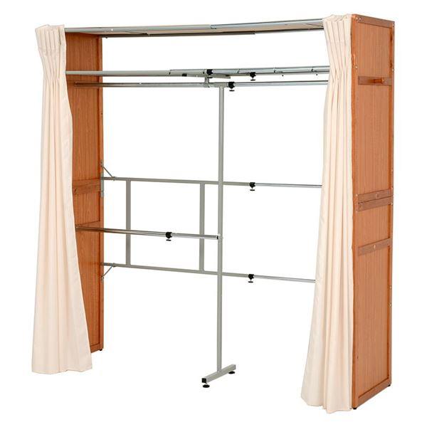伸縮式 クローゼット/衣類収納 【幅115~195cm×高さ194cm ナチュラル】 木製 スチール 洗えるカーテン付き【代引不可】
