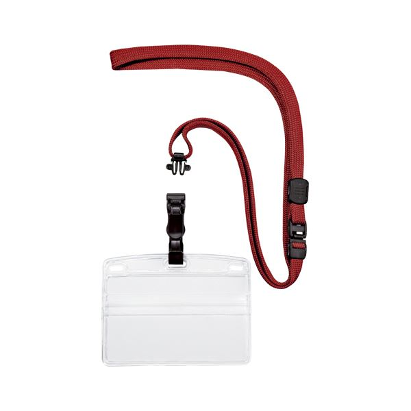 (まとめ) オープン工業 吊り下げ名札 脱着式 ヨコ名刺 1枚 赤【×50セット】